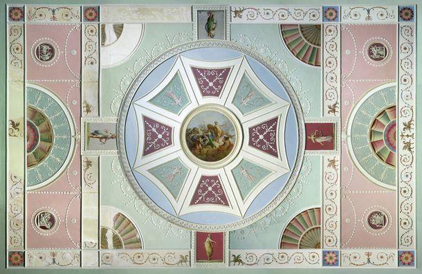Роберт Адам, архитектор и дизайнер мебели, был главным проповедником неоклассического стиля в Англии. Потолок дома в Лондоне по его эскизам, ок. 1771