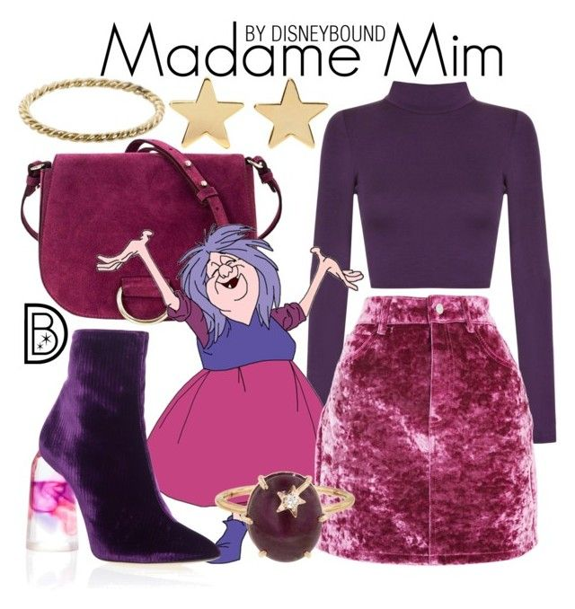 """""""Madame Mim"""" by leslieakay ❤ liked on Polyvore featuring Little Liffner, WearAll, Topshop, E L L E R Y, Jennifer Meyer Jewelry, Andrea Fohrman, Luna Skye, disney, disneybound and disneycharacter"""