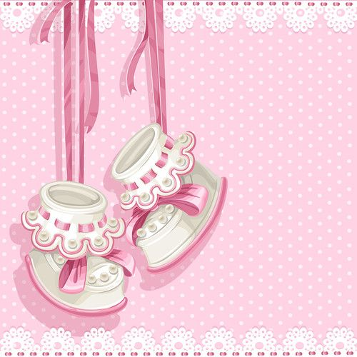 Baby shower card with pink booties and lace [преобразованный]