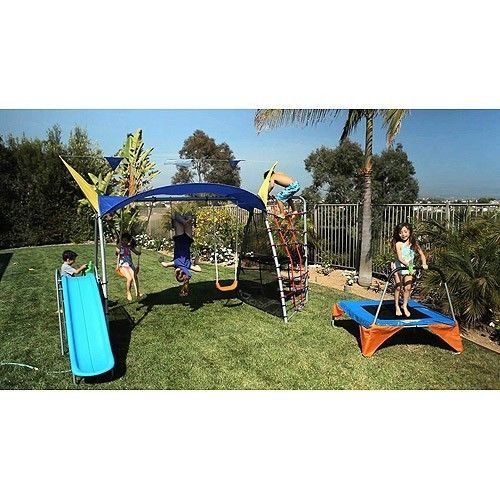 New Metal Swing Set & Trampoline Glider Slide Rope Climb & Wall Mister Sunshade