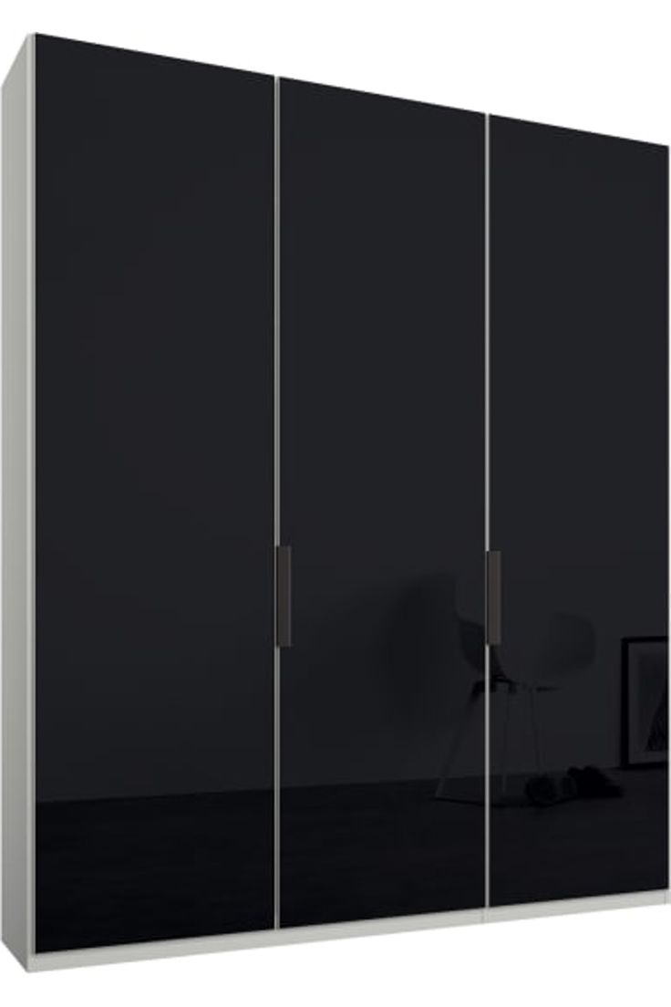 Caren 3 Door 150cm Hinged Wardrobe White Frame Basalt