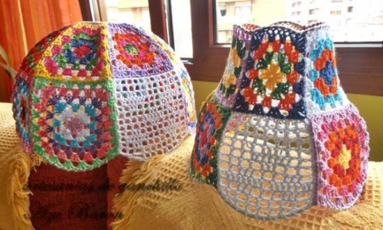 pantallas para lamparas hechas ganchillo con cuadros granys
