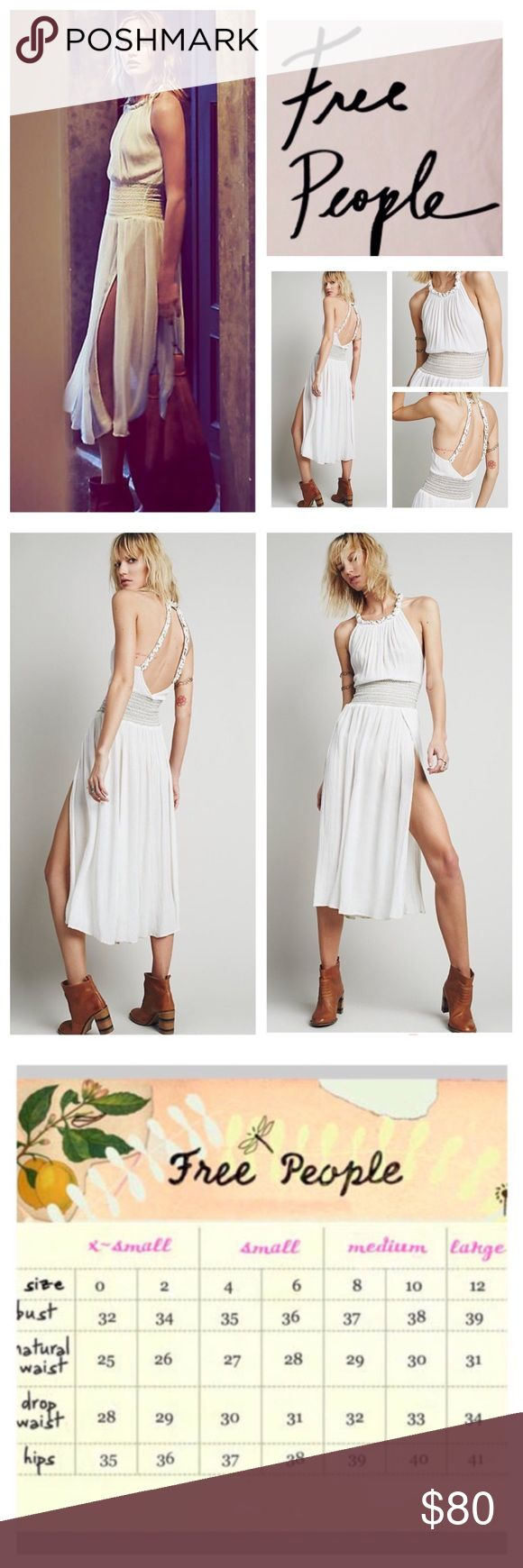 """🆕Free People The Definition Of Sexy Dress.  NWOT. 🆕Free People The Definition Of Sexy Dress, 100% rayon, machine washable, 15"""" armpit to armpit (30"""" all around), 25"""" elastic waistband stretches up to 32"""", 43"""" length, 25"""" front slits, made from sheer and gauzy Endless Summer fabric, this high-neck dress features braided straps and low open back, smocked elastic waistband with metallic accent and high slits on skirt complete the look, measurements are approx.  New without tag, never worn…"""