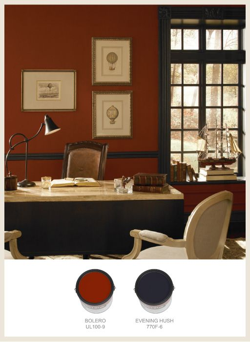 Dark Red Makes This Traditional Office Look Stately And