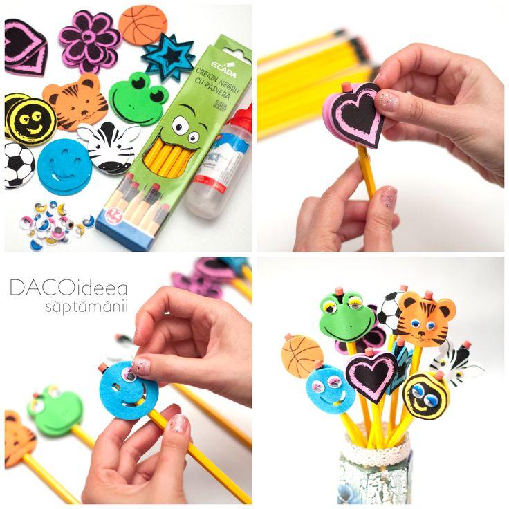 DACOideea săptămânii - Creioane încăciulate. Materiale: Hai la sport!, Selecția de bucurie, Ochi mobili, Hazliu, Prietenii junglei, Creioane, Silipici. TUTORIAL VIDEO: https://youtu.be/Py7avDBCfOs. Magazin online: http://www.dacomag.ro.