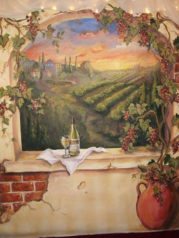 Beautiful Custom Murals, Italian Vineyard Landscape MURAL, Wine Mural On Walls Or  Canvas Amazing Pictures