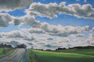 "Art Original Large Oil Painting Landscape Impressionist Country Road Canada Appalachian Quebec sky Cloud "" Seventy Kilometer Zone """