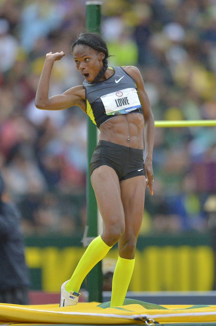 Chaunte Lowe celebrates after a clearance in the womens high jump during the 2012 U.S. Olympic Team Trials
