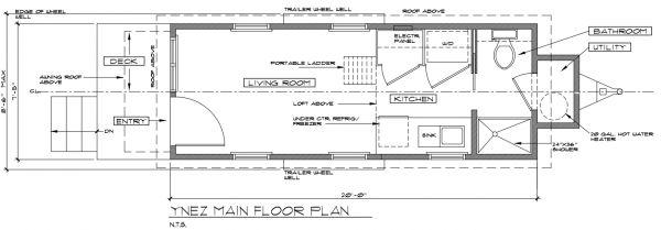 ynez tiny house floor plan 2 600x209 Ynez Tiny House on Wheels by