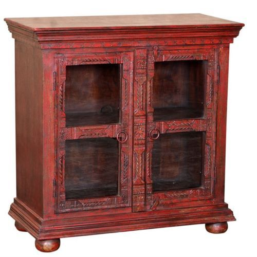 "38"" Hand Carved Mango Wood Glass Display Cabinet Antique Red Distressed Rustic- $749.00"