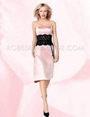 Rose tendre et sans bretelle dentelle satin robe demoiselle d'honneur   http://www.robedumariage.com/rose-tendre-et-sans-bretelle-dentelle-satin-robe-demoiselle-d-honneur-product-610.html