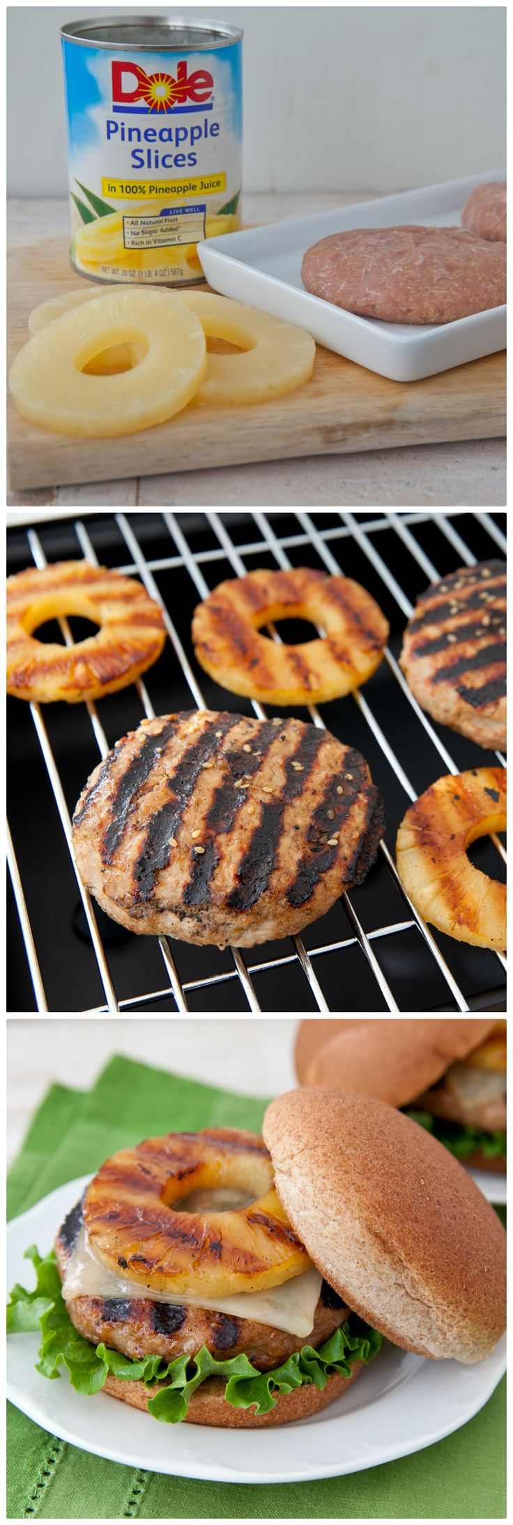 Like a grilled pineapple....Teriyaki Pineapple Turkey Burger!...use the same in a veggie burger option