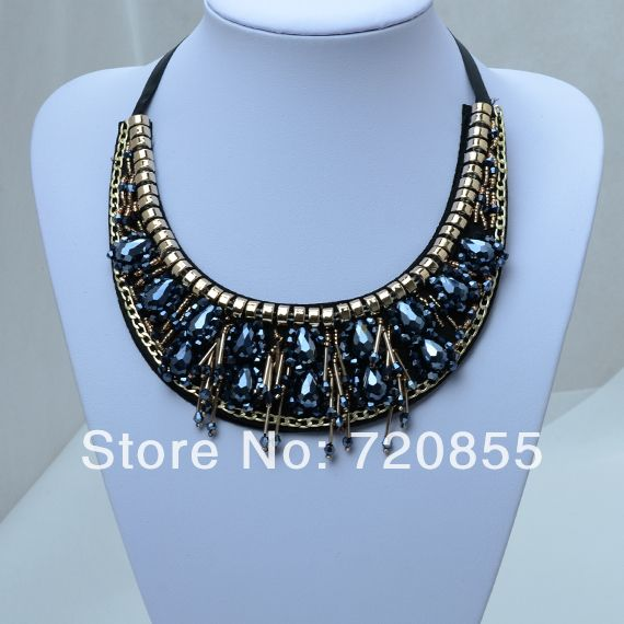 False Collar Necklace Black and Blue,With Black Ribbon,Chokers Crystal Necklaces Brilliant Jewelry for Women,New Arrival 2014