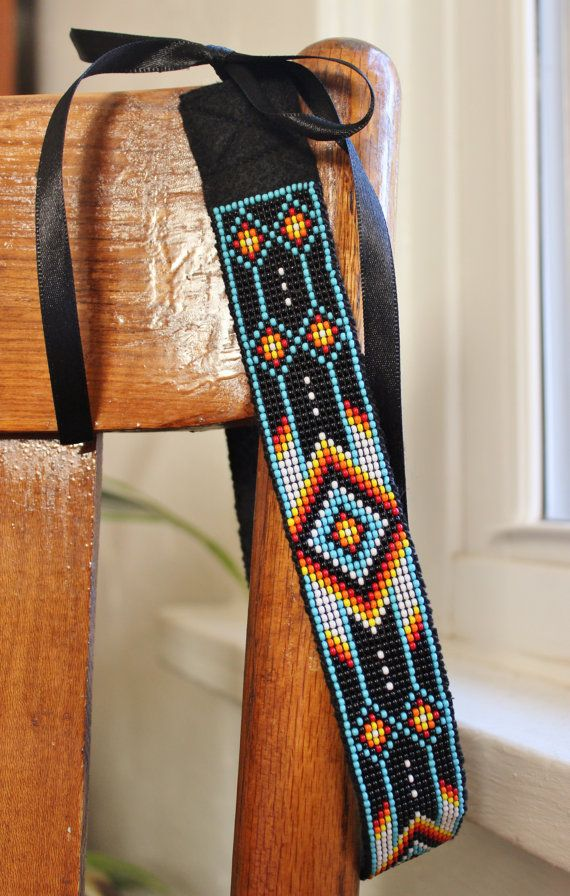 Multi Colored Beaded Headband with Native American by TheIvoryBill