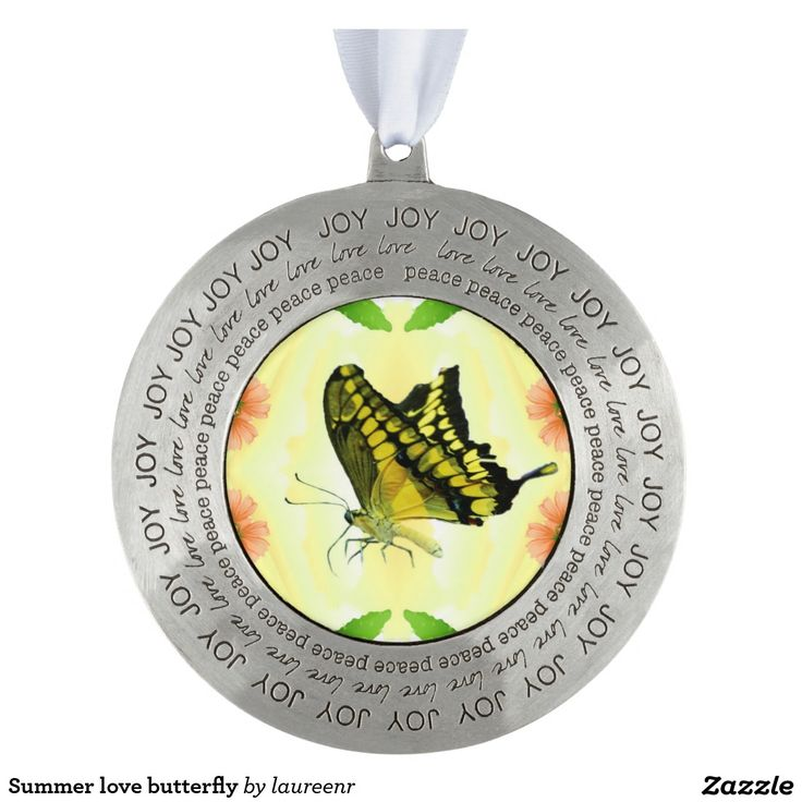 Summer love butterfly round pewter christmas ornament
