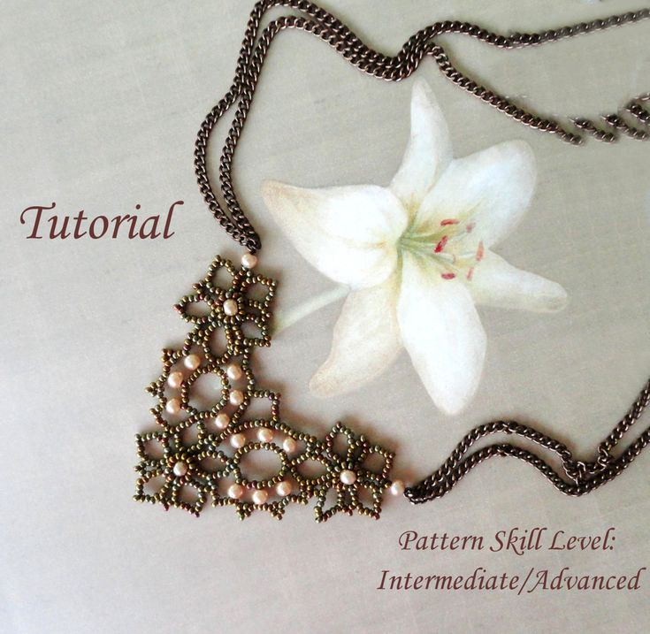 DENTELLE D'ALENCON beaded necklace beading tutorial and pattern seed bead…