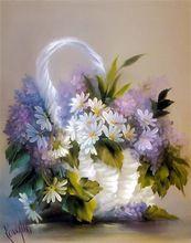 Moderno fai da te olio su dipinti su tela wall art home decor immagini painting by numbers cuadros decoracion 40*50 cm fiori d'argento(China (Mainland))