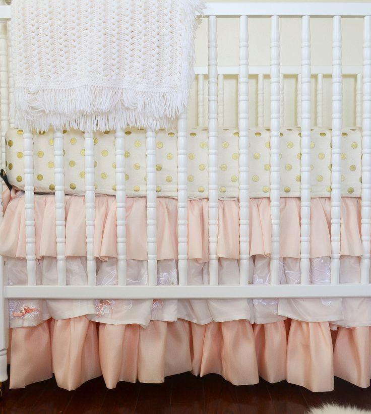This ruffle crib skirt paired with gold polka dot crib sheet is a match made in nursery heaven! #nurseryGold Polka Dots, Cribs Sheet, Coral Baby Bedding Girl, Baby Girl Nursery Gold Dots, Gold And Coral Baby Room, Coral Gold Nurseries, Baby Bedding Gold, Coral And Gold Baby Room, Dots Cribs