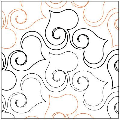 Curly Hearts quilting pantograph pattern by Lorien Quilting