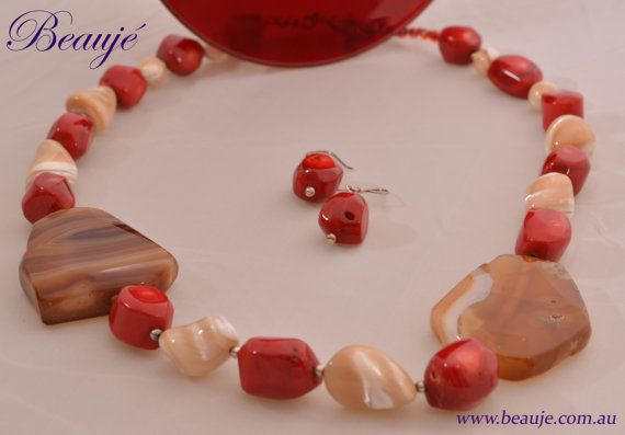 SALE  Red necklace Red coral Gemstone jewellery by BeaujeJewellery