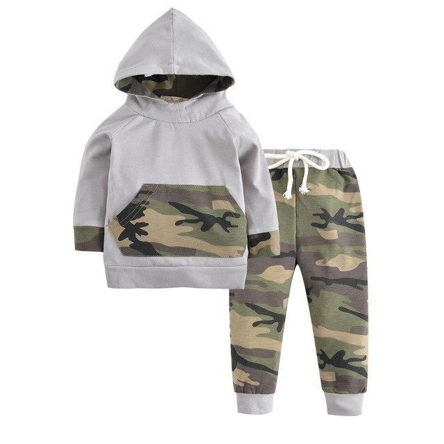 2PCS Boys Girls Clothing,Infant Baby Boys Girls Camouflage Splice Tops Trousers Pants Hooded Outfits Set