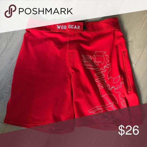 WOD Gear Crossfit Men's Shorts 32 M L Reebok Red Brand new (no tags), size 32 men's Crossfit wod workout shorts. Red with white logos, zipper pocket size and back pocket. Slitted. Brand is WOD gear. Reebok Shorts Athletic