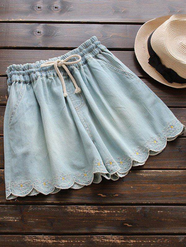 $22.49 Elasticated Embroidered Denim Shorts - LIGHT BLUE ONE SIZE