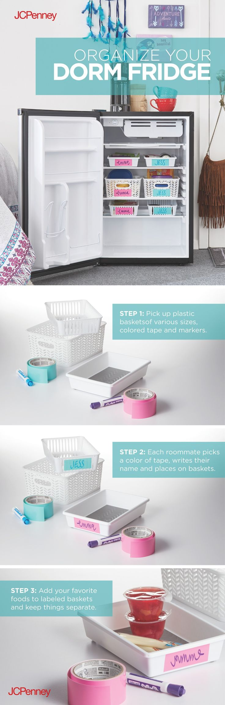 Organize your dorm fridge in 3 easy steps. Keep thing separate in your dorm fridge with simple organizing tips. Find these ideas and items at JCPenney!