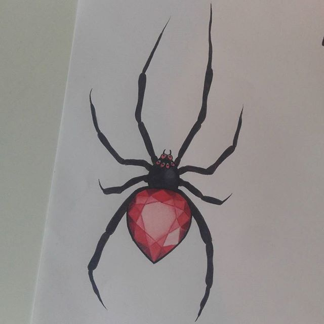 Ruby black widow | birth stone tattoo