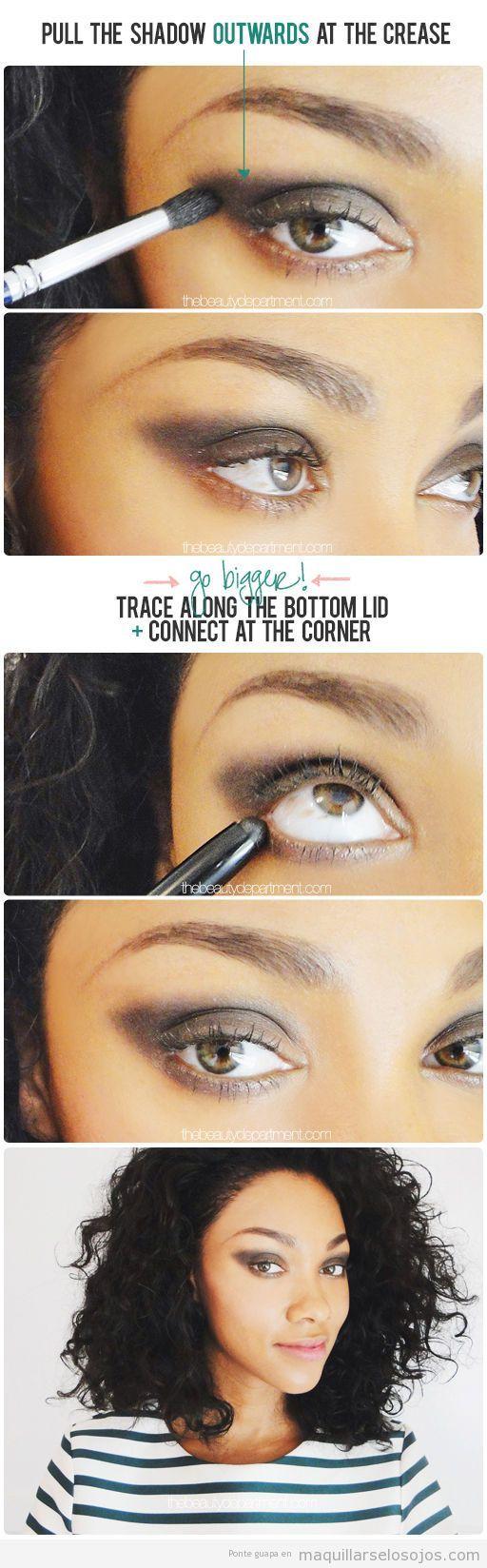 Tutorial maquillaje de ojos ahumado, truco para alargar el párpado