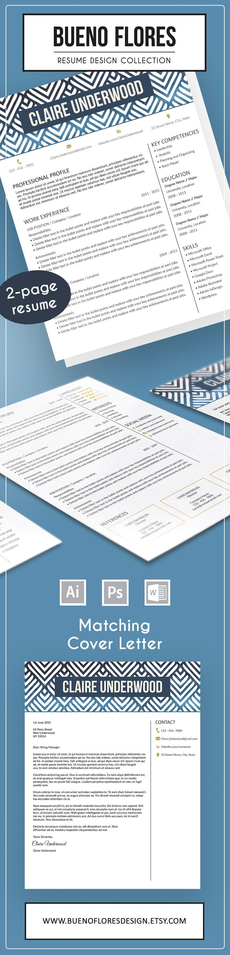 """Creative Resume Template """"Claire Underwood"""", a feminine 2 page resume design with maching cover letter and 20 different icons. Free login organizer with every purchase. Buy 2 for only $22. #resume design #resume template"""