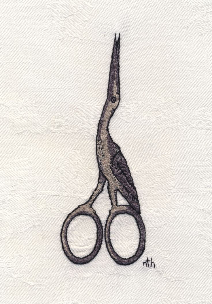 Crane Shaped Scissors, Hand Embroidery.