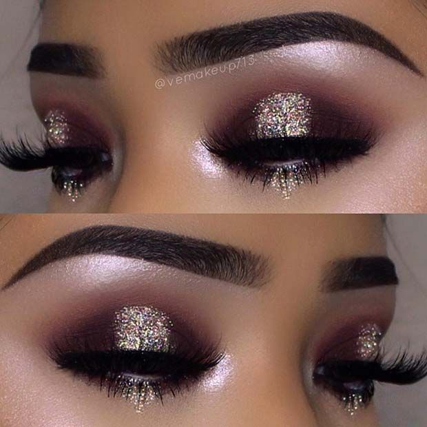 Brown Smokey Eye with Glitter - Perfect Look for NYE