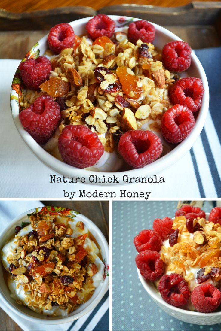 Nature Chick Granola by Modern Honey has all of the good stuff - oats, nuts, seeds, coconut flakes and zero sugar. It's all natural and so good for you and will give your energy all day long. Perfect for a snack or on top of greek yogurt or a smoothie bowl. http://www.modernhoney.com/nature-chick-granola/
