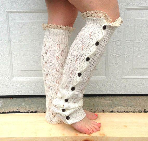 Leg warmers - button down lace legwarmers - women leg warmers - winter fashion - boho - boot accessory