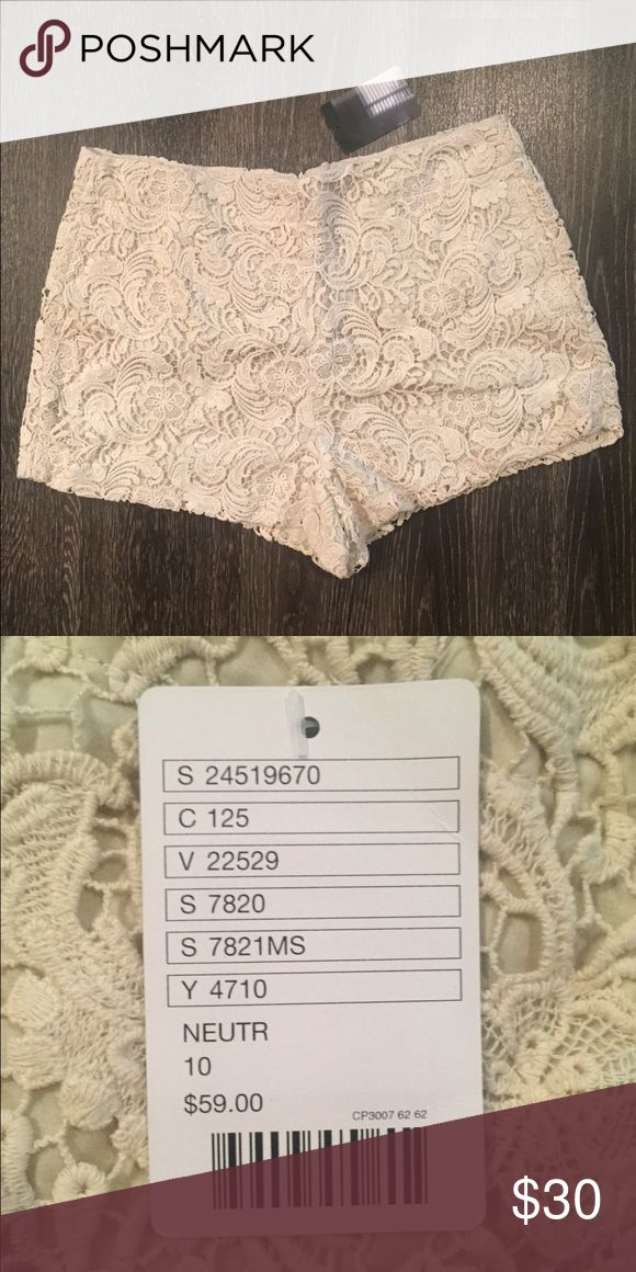 NWT Lace Shorts NWT Cream Lace shorts from Urban Outfitters. Size 10 Urban Outfitters Shorts