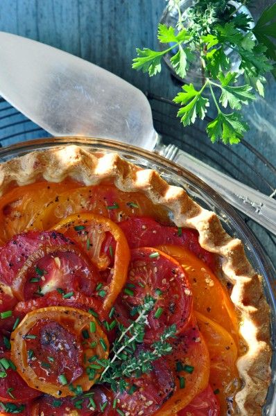 """""""Heirloom Tomato Pie Recipe"""".  **This recipe has the cheesey goodness on the bottom"""
