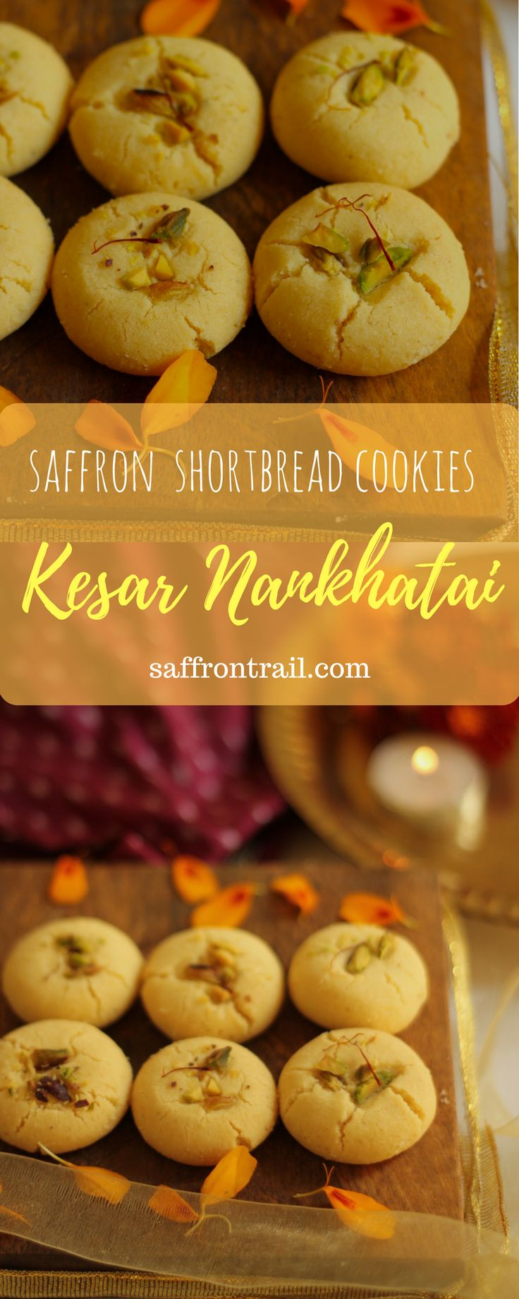 Kesar Nankhatai - Indian Shortbread Cookies With Saffron Recipe for Diwali special Kesari Nankhatai - Indian shortbread cookie with saffron and pistachios - Diwali special recipes - Eggless Indian cookies