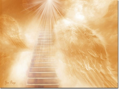 Brush of Angels Wings -- by Jennifer Page,stairway to heaven on angel wings