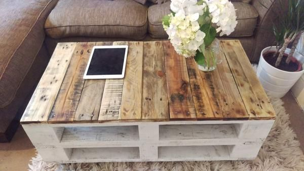 Pallet Coffee Table LEMMIK Farmhouse Style - Reclaimed & Upcycled - Industrial - Living Room