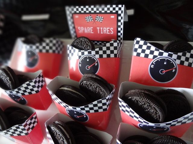 Spare Tires aka Oreos in a box for the party favors! Super cool idea for a Car race themed birthday bash!