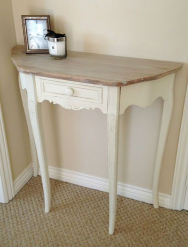 Cream-French-Country-Shabby-Chic-Half-Moon-1-Drawer-Console-Hall-Dressing-Table
