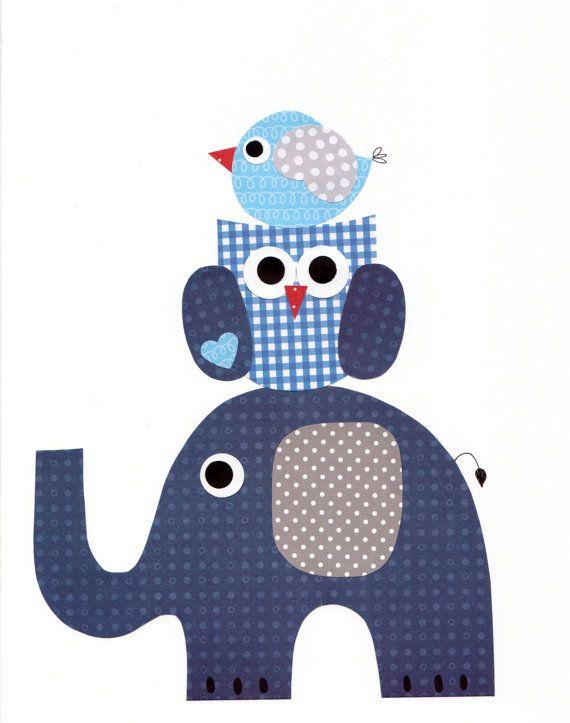 1303 Elephant Owl Bird Nursery Artwork Print by 3000yardsofthread                                                                                                                                                                                 Mais
