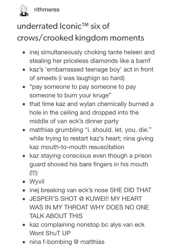 Underrated Iconic Six Of Crows Crooked Kingdom Moments Six Of Crows Crow Crooked Kingdom