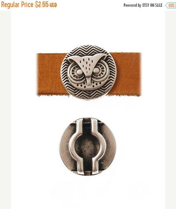 On Sale NOW 25%OFF Beautiful Owl Slider Designed in Greece For Up To 20mm Flat Leather Cord - Antique Silver - Z4114 Qty 1 by LRPJewelryBox - jewelry supplies - jewelry supply - jewelry making