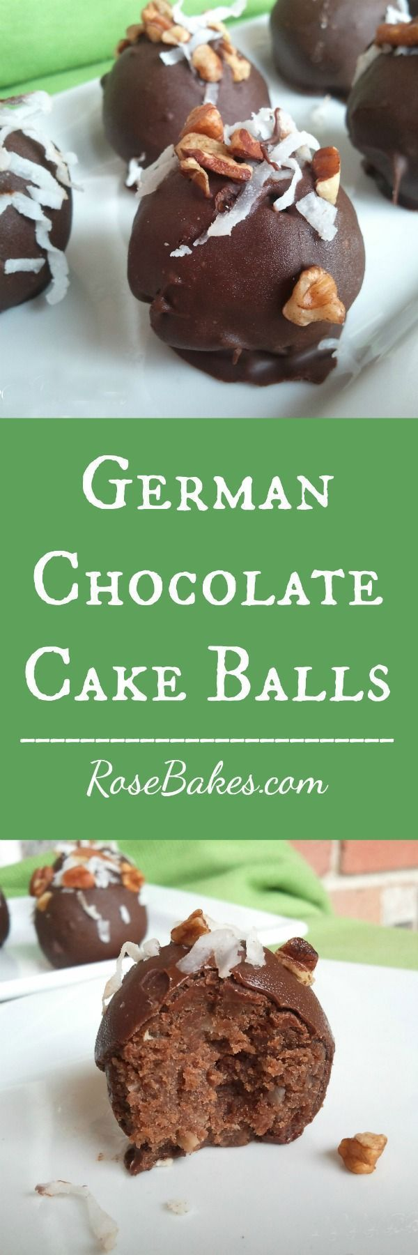 German Chocolate Cake Balls | RoseBakes.com #GermanChocolate #CakeBalls #Recipe