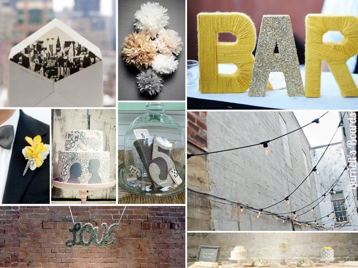 {urban chic} gray and yellow wedding colors with an urban chic vibe - perfect for a trendy city wedding! http://burnettsboards.com/2012/11/urban-chic-wedding/