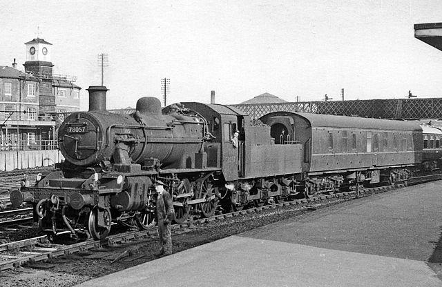 BR Std 2MT, 78057 with Mk1 coach, Derby