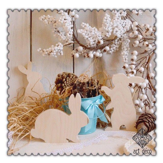 Кролики. Материал, размер и цвет выбираются по желанию заказчика. Вы можете проявить всю свою фантазию и декорировать кроликов по своему желанию или предоставить это нам! #кролик #заготовка_для_декупажа #дерево #заготовка_деревянная #новый_год