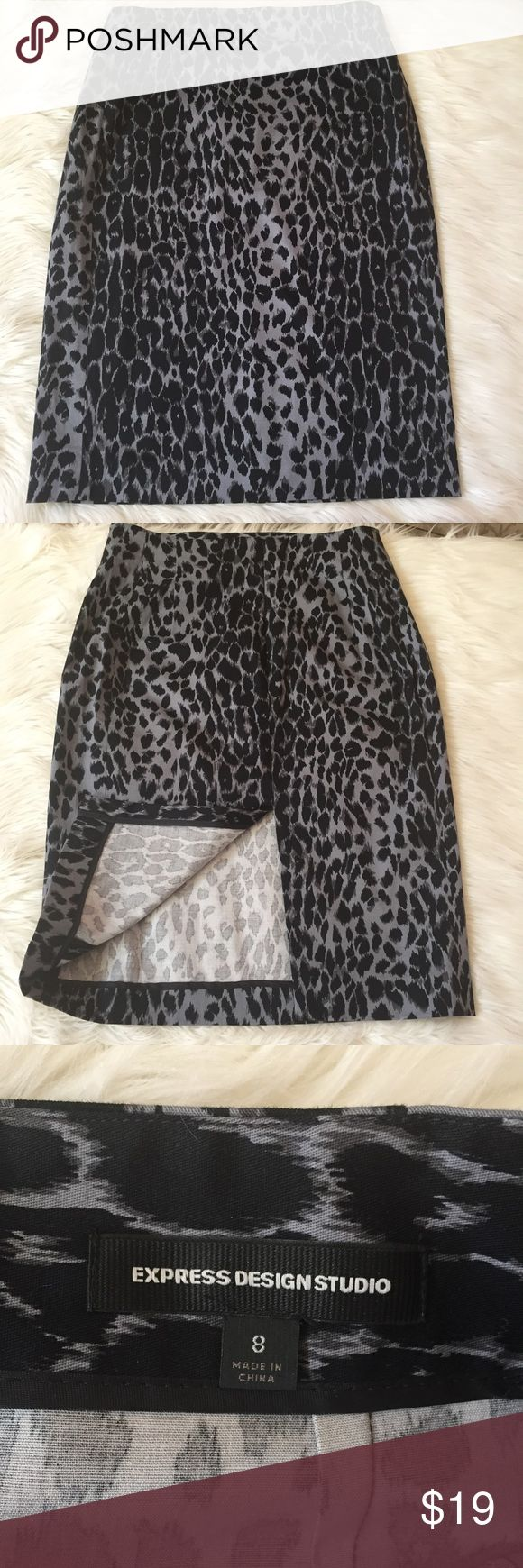 Express leopard pencil skirt NWOT Gray and black leopard pencil skirt.  Has a zipper and slit in the back.  Measures 24 inches in length.  New with out tags . Express Skirts Pencil